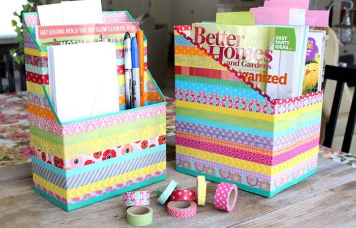 Renkli Bantlarla Kutudan Organizer Yapımı