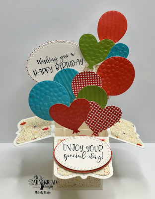 Our Daily Bread Designs Stamp Set: Celebrating You, Custom Dies: Surprise Box, Birthday Balloons, Oval Stitched Rows, Layered Lacey Ovals, Paper Collection: Birthday Bash, Birthday Brights