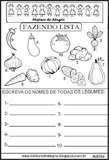 Lista de legumes grupo semântico alfabetização