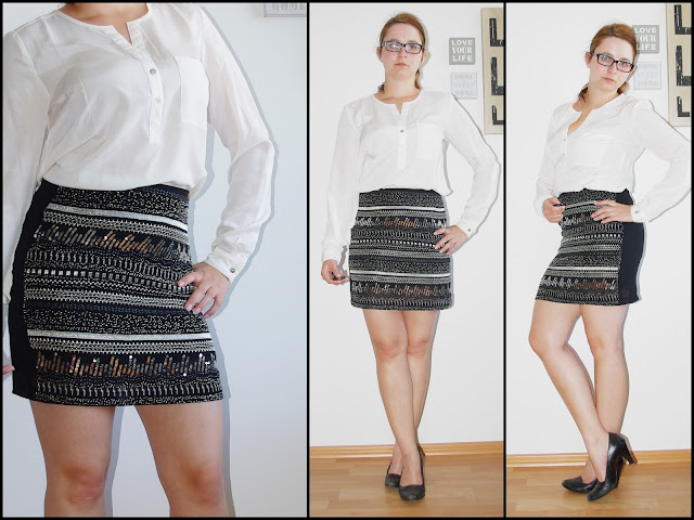[Fashion] Oh, what a night! - Sequin skirt with white blouse // Paillettenrock mit weißer Bluse