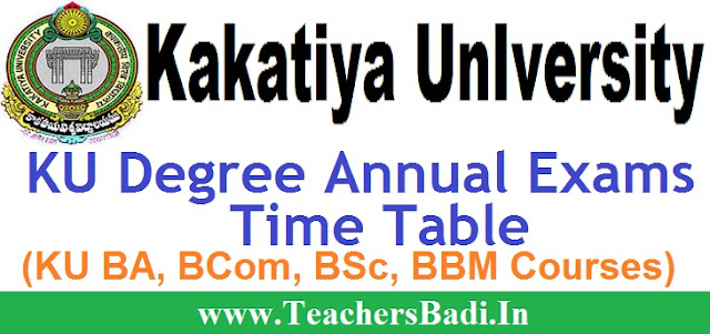 KU, Degree Exams,Time Table 2016