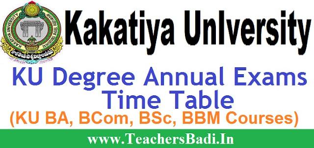 KU, Degree Exams,Time Table 2017