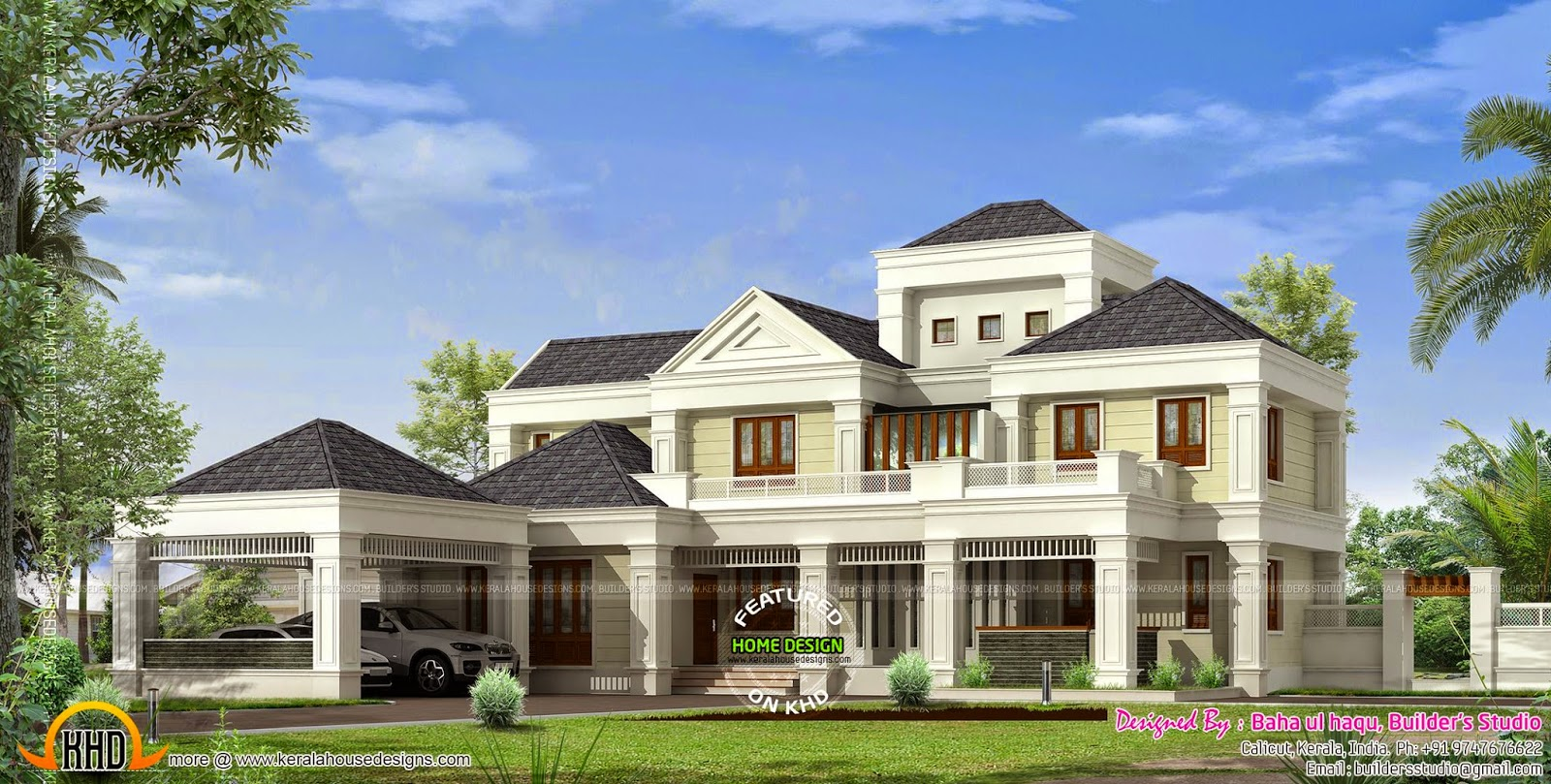 Colonial mix style house kerala home design and floor plans for Colonial style house plans kerala