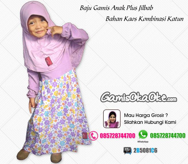 Grosir baju muslim anak perempuan harga murah model terbaru bahan kaos dan katun berkualitas bagus