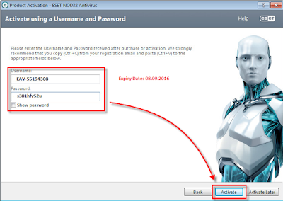 Username and Password Eset Nod32 Terbaru 2016
