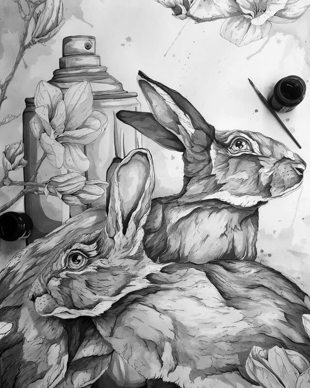 05-Rabbits-A-Landerman-Animal-Drawings-Paintings-in-Graphite-and-Ink