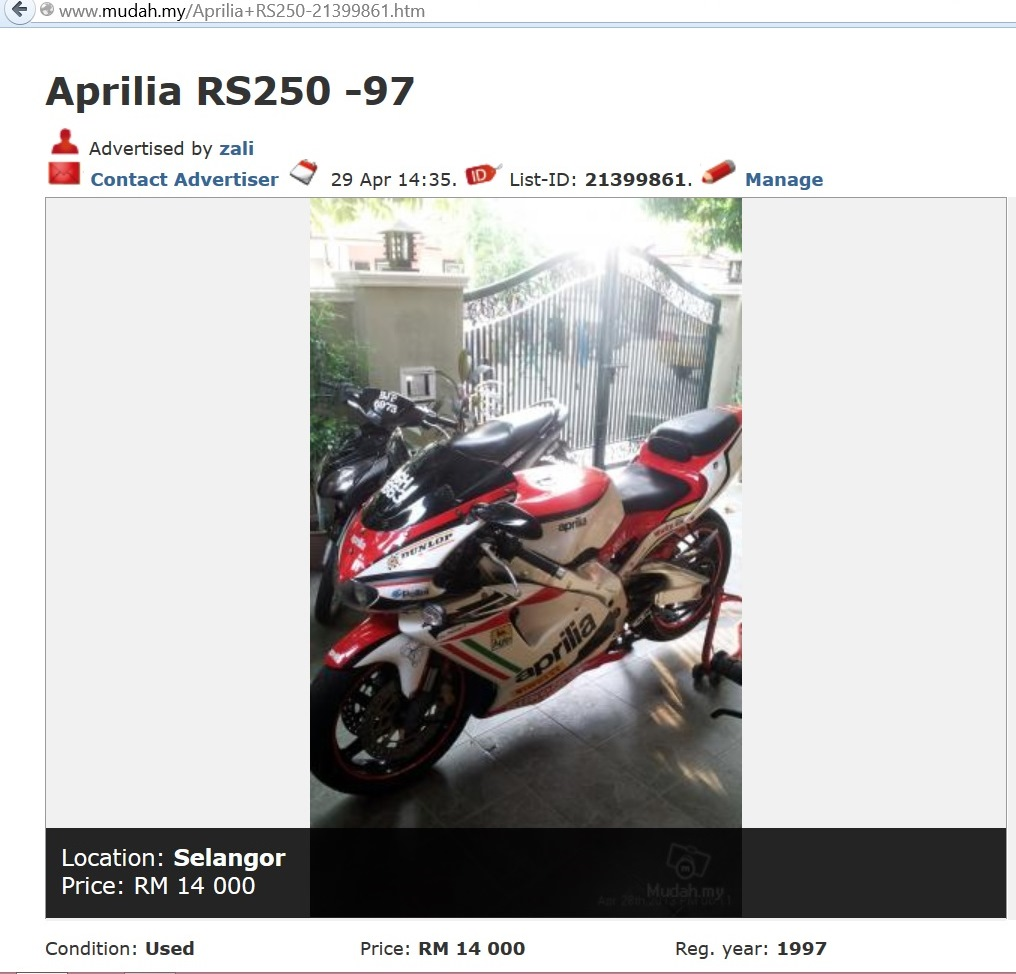 C Segment Superbike 2 Wheelers For Us Average Joes June 2013 Aprilia Rs250 Wiring I Thought Recognized The Bike From A Mudah Advert And Asked Him If It Was Same 3663 That Advertised He Confirmed Accordingly