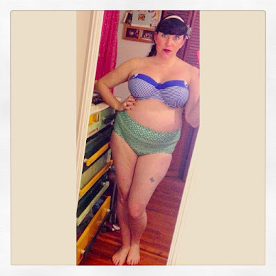 Mix and Match Pin Up Style Bikini with High-Waisted Vintage Bottoms and 36H Bare Necessities Blue Striped Bikini Top