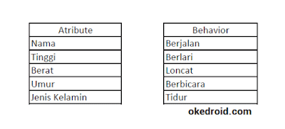 Contoh Atribute dan Behavior Java