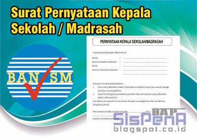 Download Surat Pernyataan Kepala Madrasah Pengiriman Instrumen Akreditasi