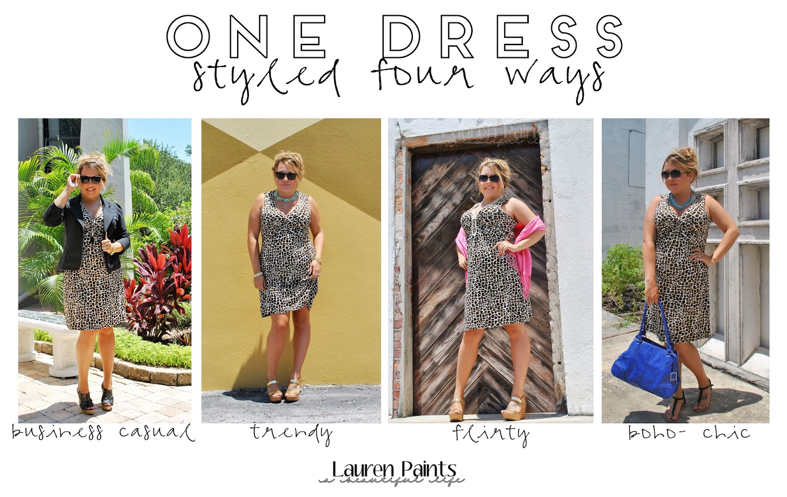 One Dress, Styled 4 Ways {on a budget} - business casual, trendy, flirty, and boho - chic