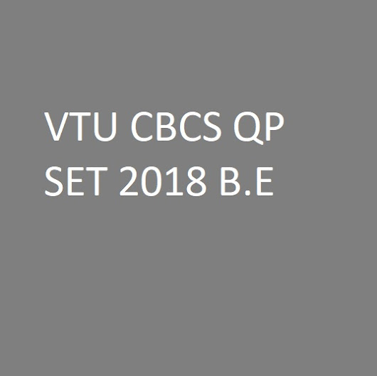 VTU CBCS Question Paper Set I/II semester B.E 2018