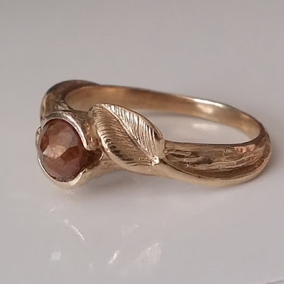 Leaf and Twig Engagement Ring, Rose Cut Diamond, Engagement Ring, Made to Order, Leaf Engagement Ring in Gold by Dawn Vertrees