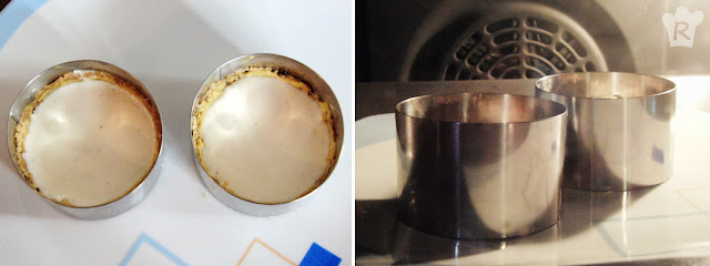 Molde con la crema y en el horno