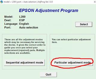 Particular Adjustment Mode Resetter l200