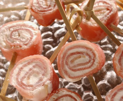 Raw ham and cheese rolls