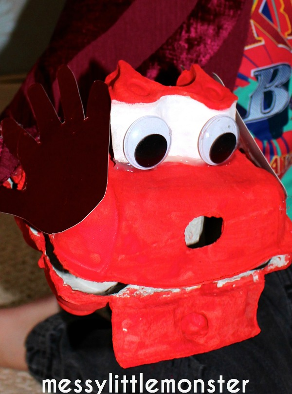 If you want to make dragon eggs, you'll need: Egg Box Dragon Puppet Messy Little Monster