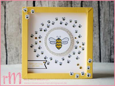 Stampin' Up! rosa Mädchen Kulmbach: Shadow Box flotte Biene zum 50. und Rahmen zur Erinnerung mit Tierische Glückwünsche und Wortspielereien