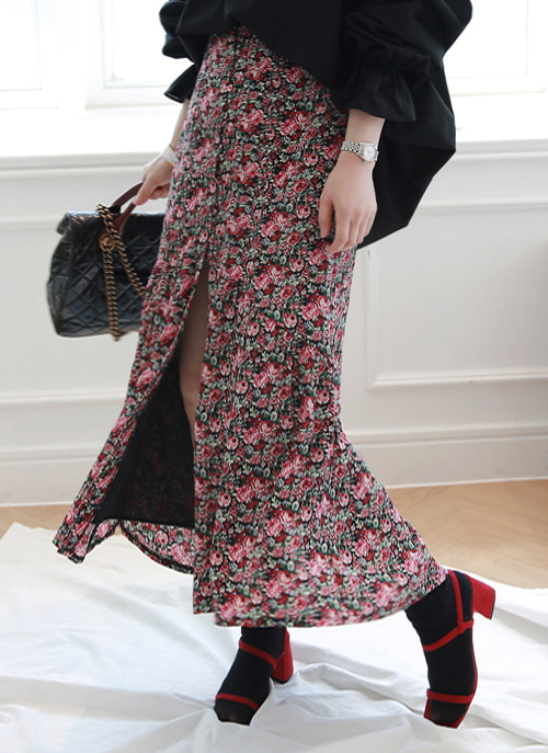 Floral Button And Loop Front Long Skirt