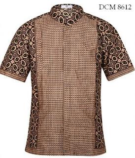 Contoh baju pria model kemeja kombinasi kain batik