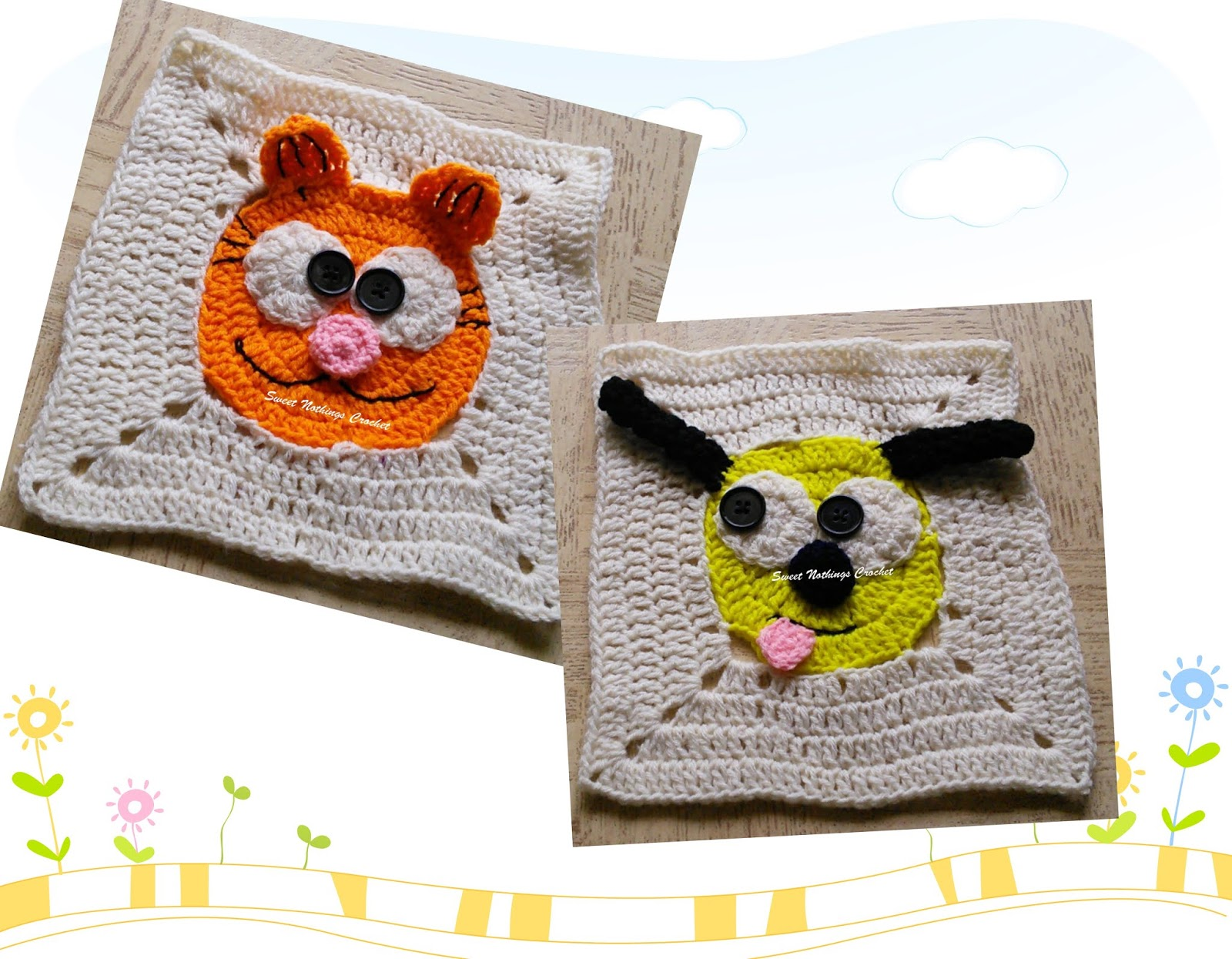 Kitty Granny Squares Free Crochet Patterns | 1245x1600