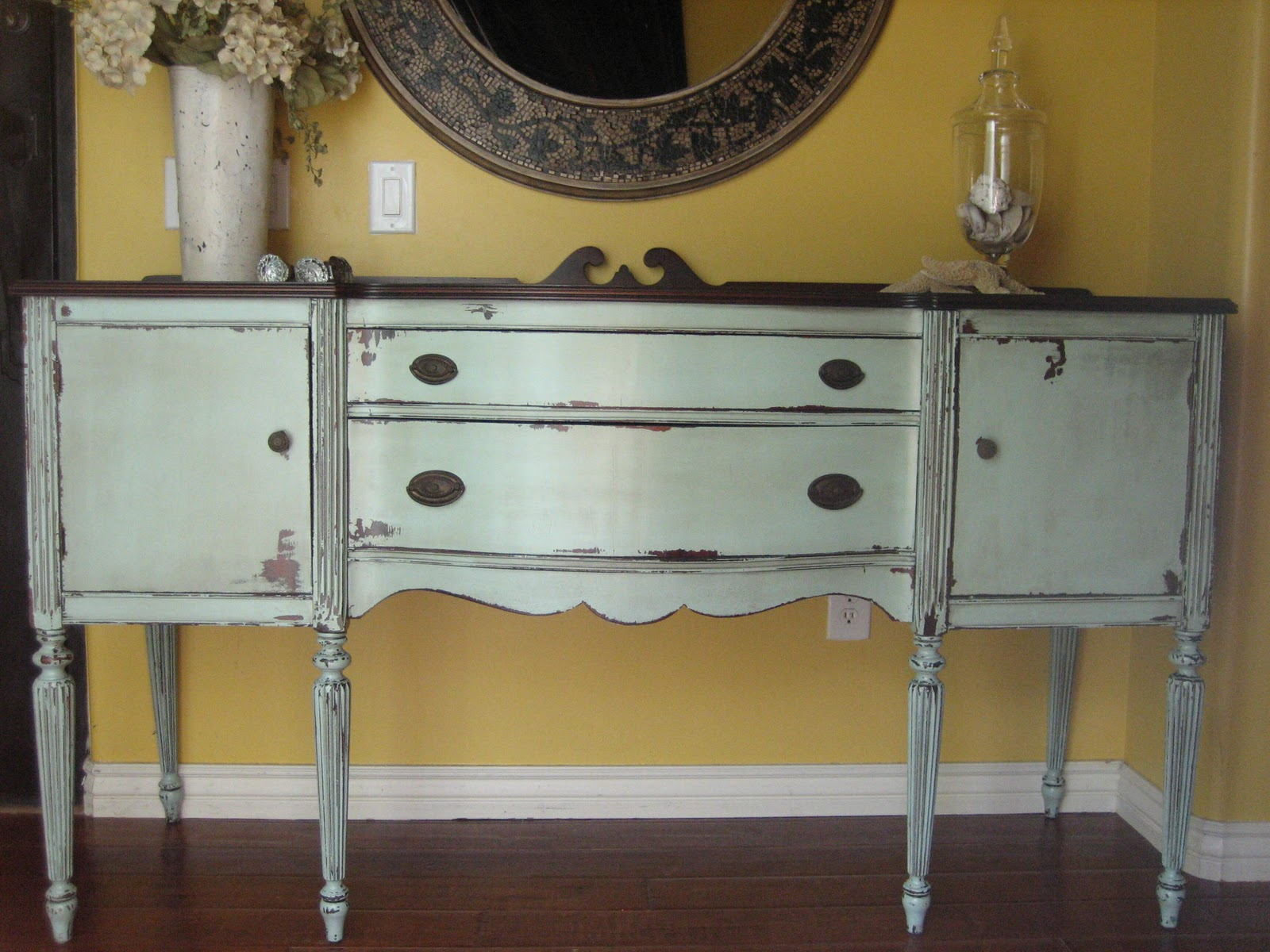 European Paint Finishes: Chippy Grey Green Sideboard