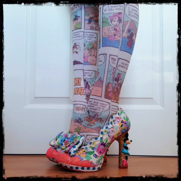 wearing irregular choice disney floral minnie shoes