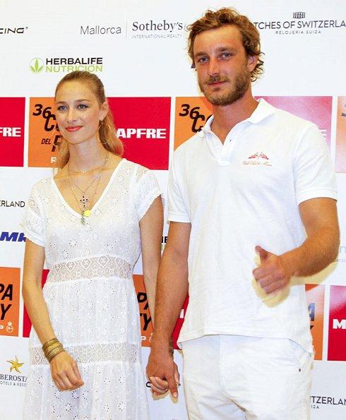 Pierre Casiraghi and Beatrice Borromeo at Palma Royal Nautical Club. Beatrice wore TopShop, Giambatista Valli lace dress