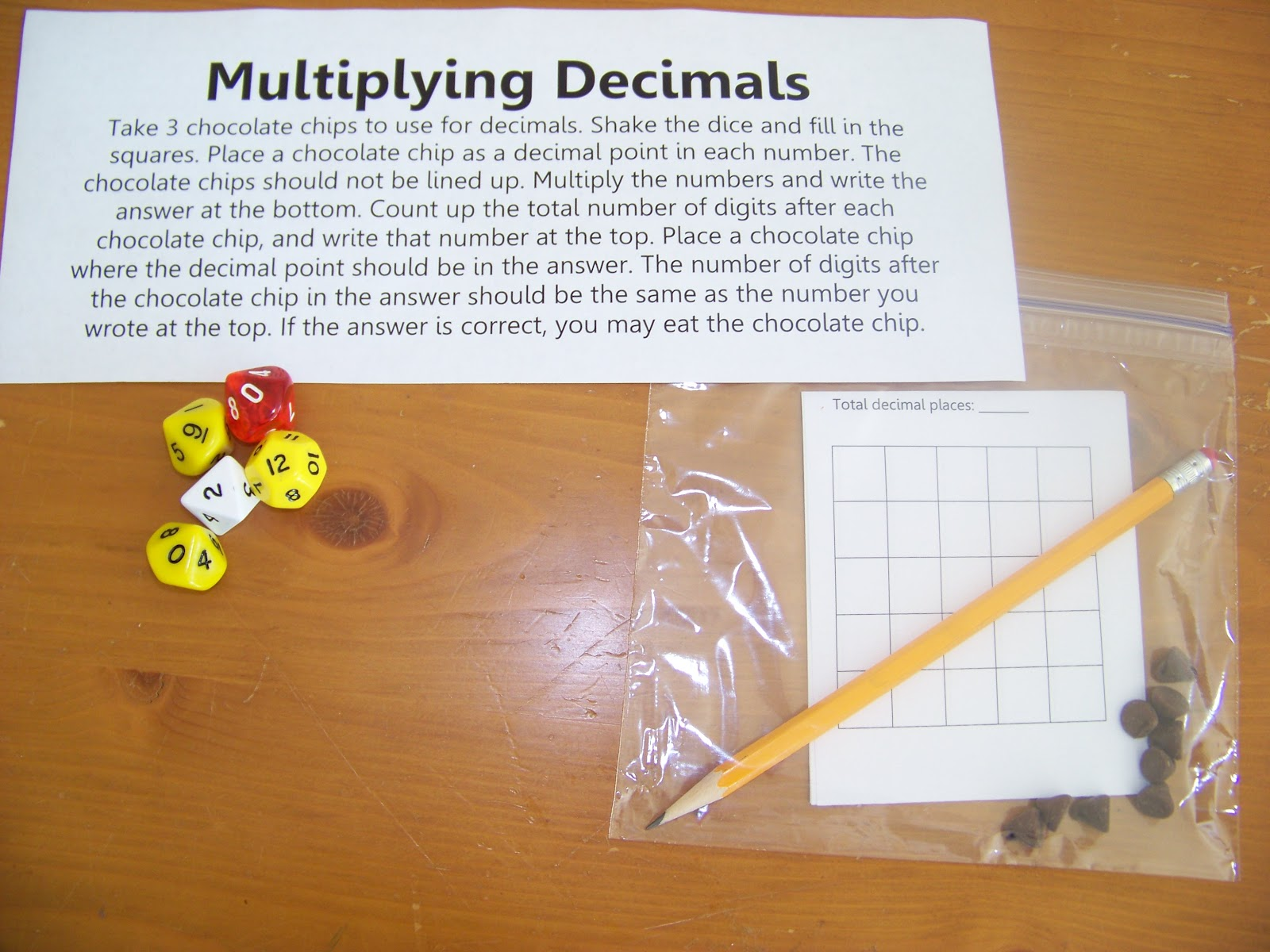 Our Fun Homeschool Chocolate Chip Decimal Multiplication