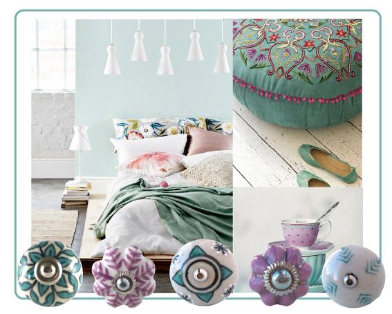 boutons de meuble boho ethnique rose vert menthe