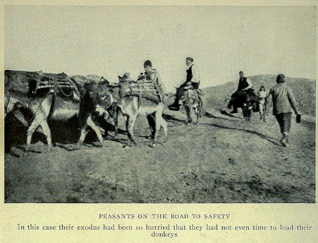PEASANTS ON THE ROAD TO SAFETY In this case their exodus had been so hurried that they had not even time to load their donkeys