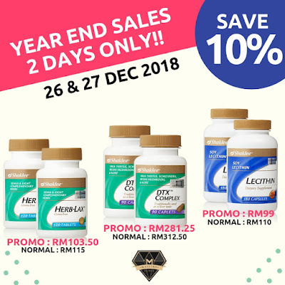 Shaklee promo, shaklee murah, year end sale, suplimen, herblax, alfalfa complex, youth skincare, DTX complex, lecithin, collagen powder,
