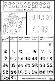 Calendário de 2017 para colorir