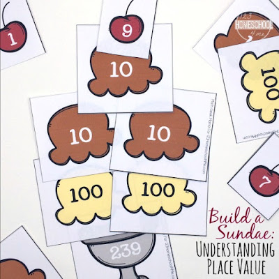 Kids will have fun learning about place value with this fun Build your own Ice Cream Sundae math games for kindergarten, 1st grade, and 2nd grade kids