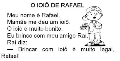 Texto O IOIÔ DE RAFAEL, de Elisângela Terra