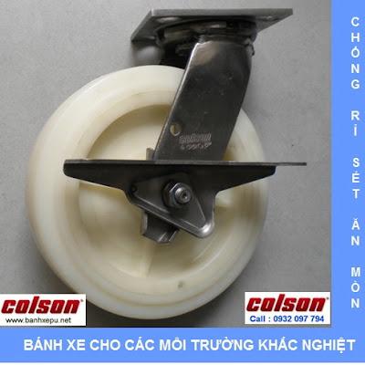 Bánh xe đẩy inox 304 Colson phi 200 chịu lực 450kg | 4-8499-824-BRK3 www.banhxeday.xyz