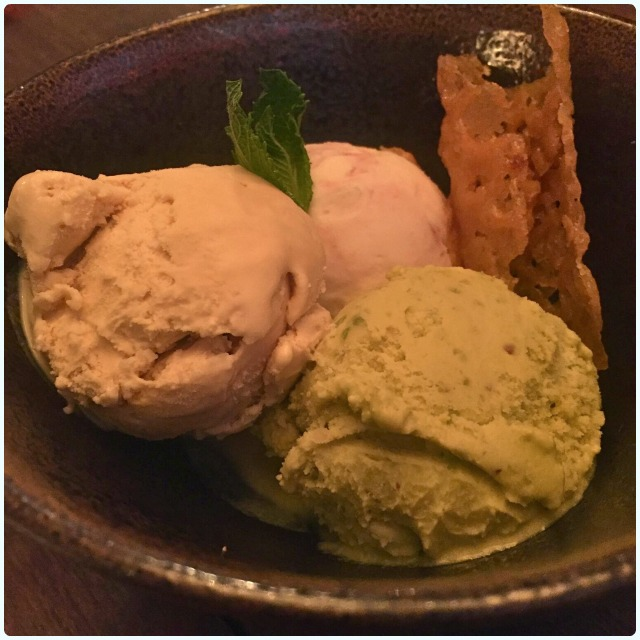 Selection of ice creams - Eton mess, pistachio and salted caramel
