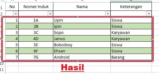 cara membuat tabel di ms excel android