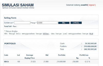 simulasi trading saham kontan