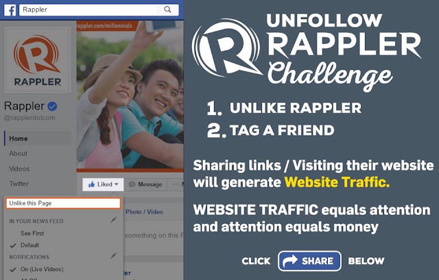 Rappler Quickly Losing Followers After #UnlikeRapplerChallenge Takes Off!