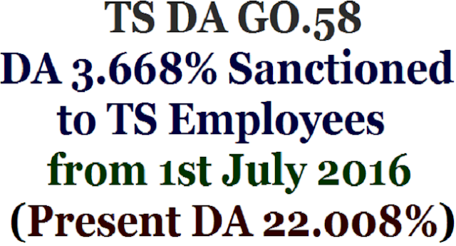 GO.58,DA 3.668% Sanctioned to TS Employees,Present DA 22.008%