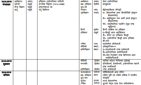 VBS Purvanchal University Time Table 2016 vbspu.ac.in UG/PG Exam ...