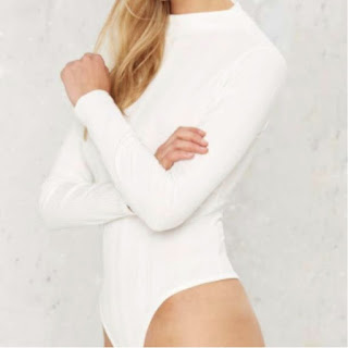 Nasty Gal white high neck bodysuit