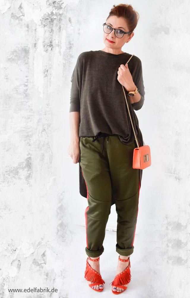 die Edelfabrik,Trendteil, Jogginghose, Outfit mit grüner Jogginghose