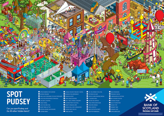 Latest Project: Can You Spot Pudsey? Illustration for Bank of Scotland for their BBC Children in Need Fundraising