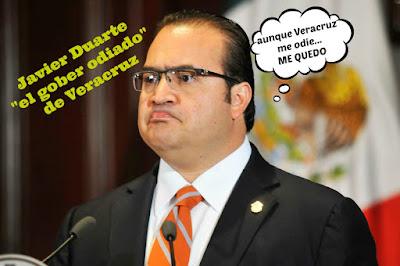 "Duarte ""el gober odiado"" de Veracruz dice que se queda"