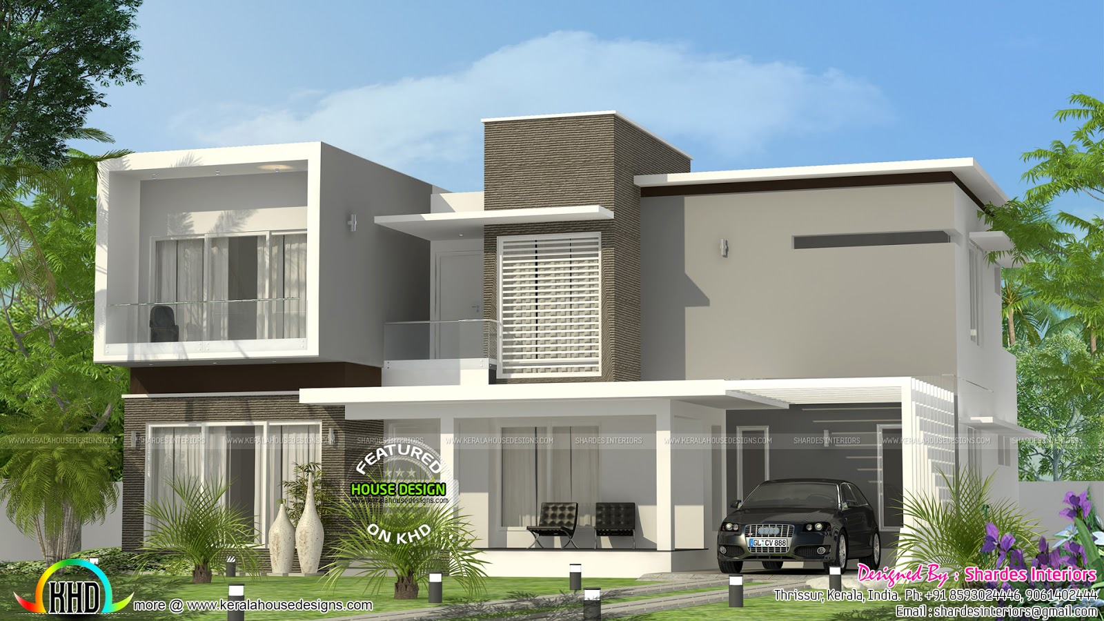 Contemporary 2700 sq ft house kerala home design and for Kerala modern house designs
