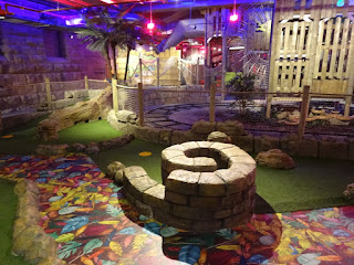 The Miniature Train ride runs along the edge of the Adventure Golf course