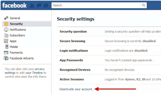 How to turn off my facebook account