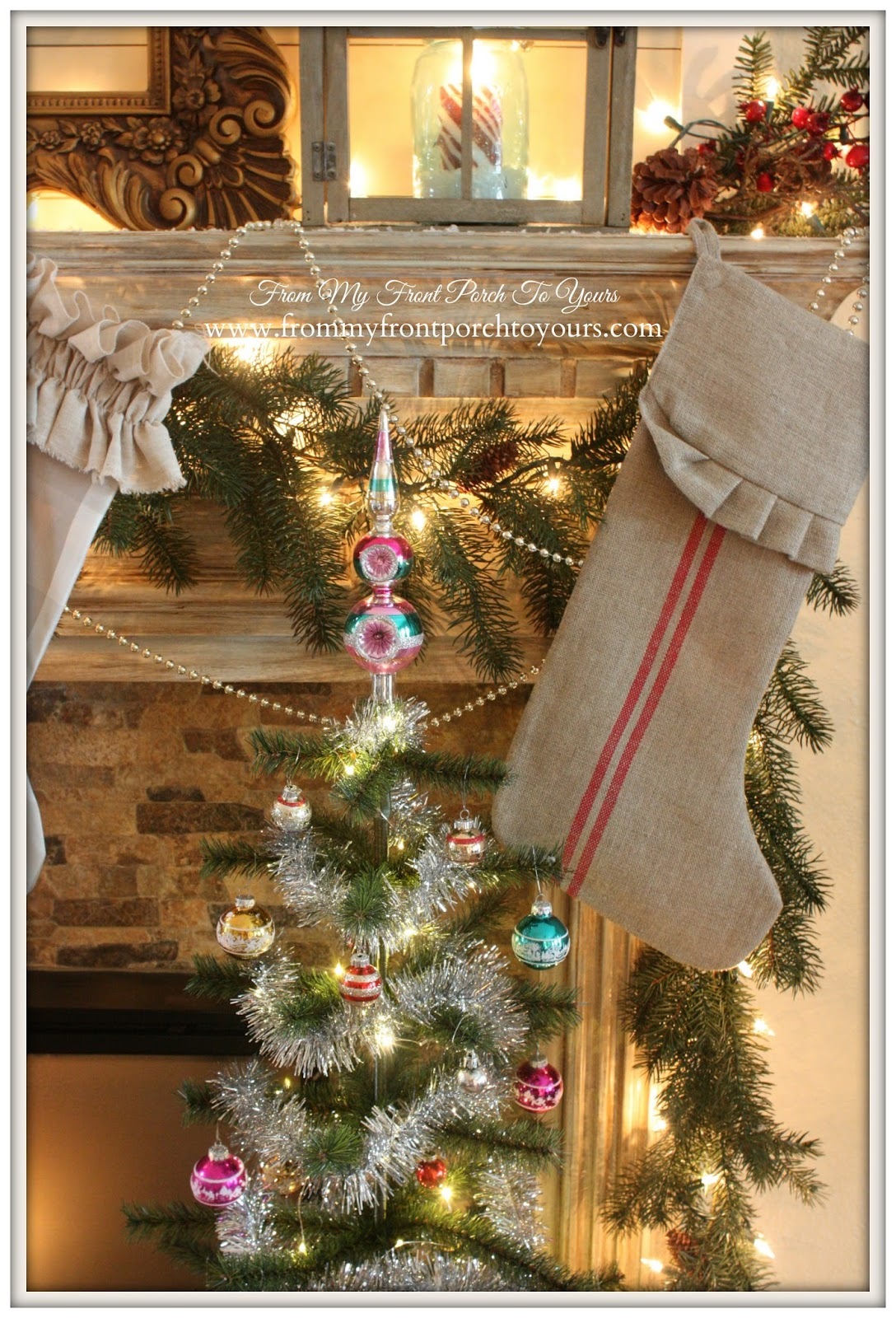French Farmhouse Vintage Christmas Mantel- Vintage Ornaments-From My Front Porch To Yours